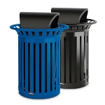 35 Gallon Slat Container w/Roto Molded Lid - Recycling & Waste Combo