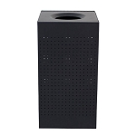 Celestial Black Finish Square Receptacle with Perforated Holes - 25 Gallons