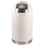 Classic White Dome-Top Trashcan with Push Door