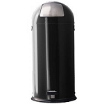 Black Dome-Top / Push-Top Step-On Trash Receptacle