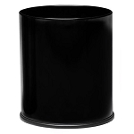 Small Round Executive Wastebasket- Black