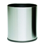 Small Round Executive Wastebasket- Stainless Steel