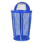 Expanded Metal Outdoor Waste in BLUE | Dome Top with Liner