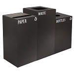 GeoCube Three-Stream Recycling Station | Charcoal