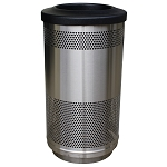 Stadium 35 Gallon Perforated Waste Receptacle with Flat Top in Stainless Steel