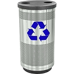 Stadium 35 Gallon Perforated Recycling Receptacle with Flat Top in Stainless Steel with Symbol