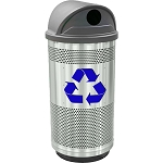 Stadium 35 Gallon Perforated Recycling Receptacle with Hood Top in Stainless Steel with Symbol