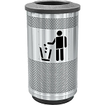 Stadium 35 Gallon Perforated Waste Receptacle with Flat Top in Stainless Steel with Symbol