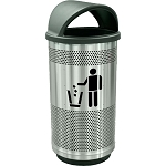 Stadium 35 Gallon Perforated Waste Receptacle with Hood Top in Stainless Steel with Symbol