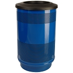 Stadium 55 Gallon Perforated Waste Receptacle with Flat Top