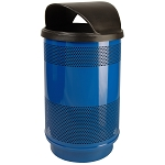Stadium 55 Gallon Perforated Waste Receptacle with Hood Top