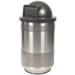Stadium 55 Gallon Perforated Waste Receptacle with Dome Top in Stainless Steel