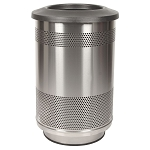 Stadium 55 Gallon Perforated Waste Receptacle with Flat Top in Stainless Steel