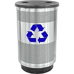 Stadium 55 Gallon Perforated Recycling Receptacle with Flat Top in Stainless Steel with Symbol