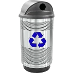 Stadium 55 Gallon Perforated Recycling Receptacle with Hood Top in Stainless Steel with Symbol