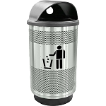 Stadium 55 Gallon Perforated Waste Receptacle with Hood Top in Stainless Steel with Symbol