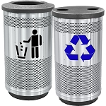 Stadium 35 Gallon Recycling and Waste Combo with Flat Tops in Stainless Steel
