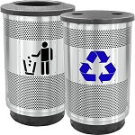 Stadium 55 Gallon Recycling and Waste Combo with Flat Tops in Stainless Steel