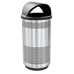 Stadium 35-Gal Perforated Waste Barrel with Hood Top in Stainless Steel
