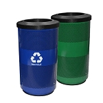 Stadium 35 Gallon Perforated Waste and Recycling Station - Custom