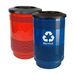 Stadium 55 Gallon Perforated Waste and Recycling Station - Custom