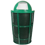 Expanded Metal Outdoor Waste in GREEN | Dome Top with Liner