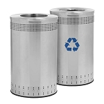 45 Gallon Imprinted 360 Recycling & Waste Station in Stainless Steel