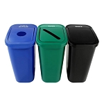 7 Gallon Deskside Sorter Three-Stream Recycling Station