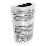 Venue XL Half-Round Stainless Waste Container - Platinum Lid