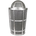 Expanded Metal Outdoor Waste in GALVANIZED | Dome Top with Liner