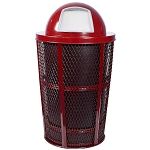 Expanded Metal Outdoor Waste RED | Dome Top with Liner