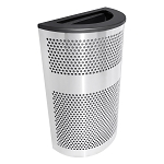 Venue XL Half-Round Stainless Waste Container - Black Lid