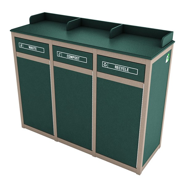 The Stratton 3-Stream Foodservice Recycling Station