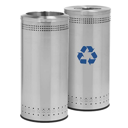 25 Gallon Imprinted 360 Recycling & Waste Station in Stainless Steel