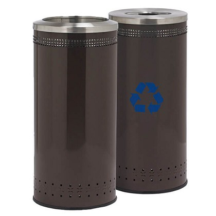 25 Gallon Imprinted 360 Recycling & Waste Station in Brown