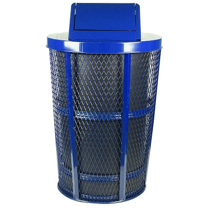Expanded Metal Outdoor Waste in BLUE | Swing Top with Liner