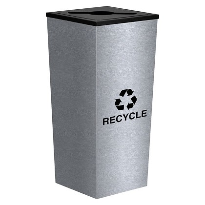 Metro Single Stream Recycling Receptacle in Stainless Steel