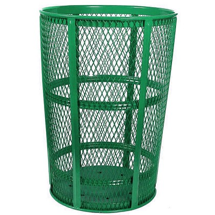 Metal Trash Barrel Hot Dipped In Zinc For All Weather Outdoor Durability