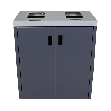 Summit Gray Double-Stream Front Access Bin w/Flat Lid