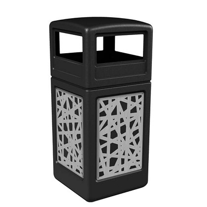 42-Gallon Dome Lid Trash Receptacle with Decorative Stainless Steel Panels