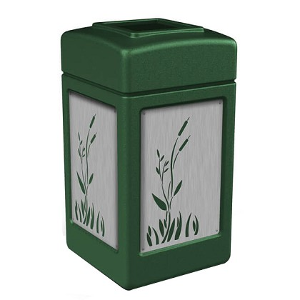 42-Gallon Trash Receptacle with Decorative Stainless Steel Panels