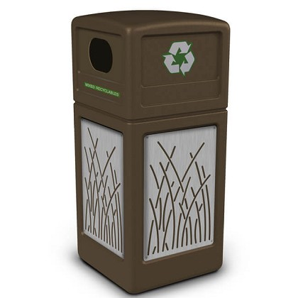 42-Gallon Recycling Receptacle with Decorative Stainless Steel Panels