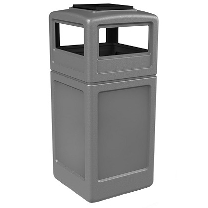 PolyTec 42 Gallon Square Waste Container with Ashtray Dome Lid