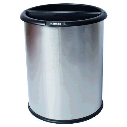 InnRoom Waste and Recycling Bin, Classic Smooth in Stainless Steel