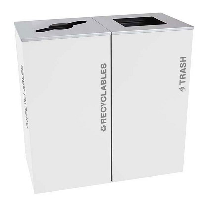 Black Tie Kaleidoscope XL Square Two-Stream Recycling Station - White