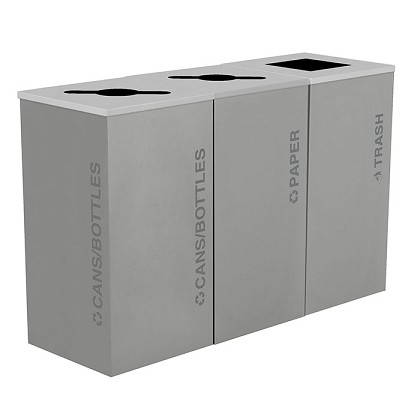 Black Tie Kaleidoscope Square Triple Recycling Station - Gray