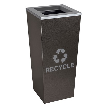 Metro Single Stream Recycling Receptacle in Hammered Charcoal