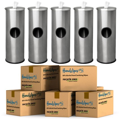 5 Stainless Steel Sanitizing Wipe Dispenser with 5-Case HanoWipes Bulk Bundle