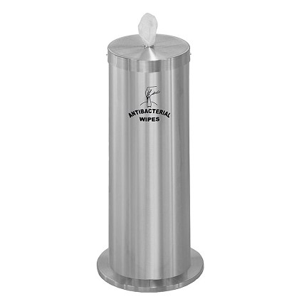 Disinfecting Wipe Dispenser with Extra Storage and Message in Satin Aluminum