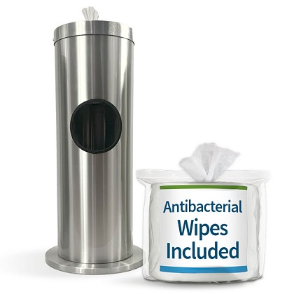 Dual Sanitizing Wipe & Waste Bin in Satin Aluminum w/Free Wipes Roll